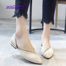 Pointed single shoes female 2019 new autumn Korean version of the wild shallow mouth with fairy soft bottom flat shoes korean female black work shoes candy shoes pointed flat with flat shoes shallow mouth small son wild shoes b25
