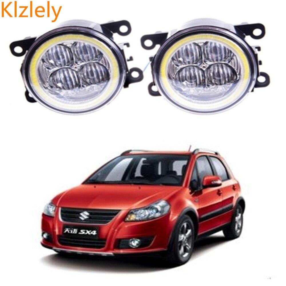 Для Suzuki SX4 GY хэтчбек 2006-2014 Angel Eyes DRL светодиодный туман лампы 9 см дневного света Spotlight DRL ОКБ объектива