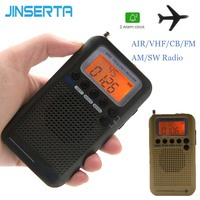 JINSERTA 2019 Aircraft FullBand VHF Radio Portable FM AM SW Radio VHF CB 30 223MHZ 25 28MHZ Air 118 138MHZ with Dual Alarm Clock