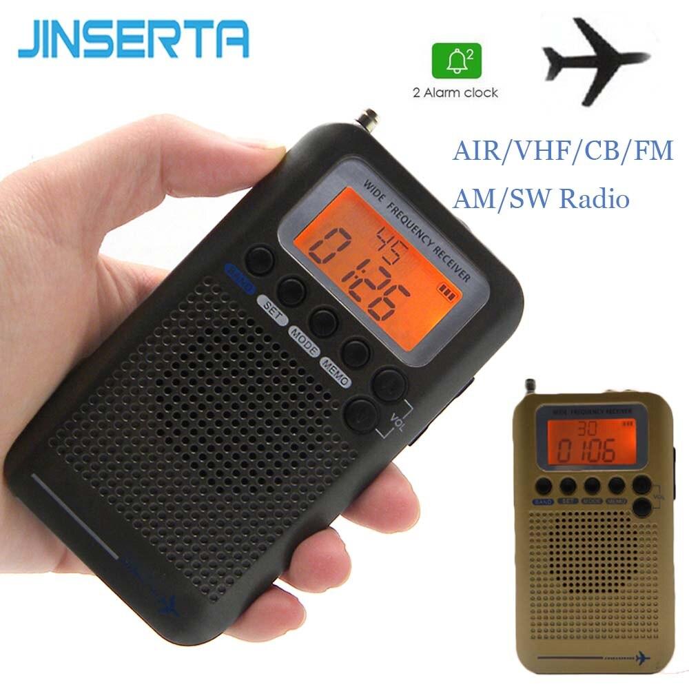 JINSERTA 2019 Flugzeug FullBand VHF Radio Tragbare FM AM SW Radio VHF CB 30-223MHZ 25-28MHZ Air 118-138MHZ mit Dual Alarm Uhr