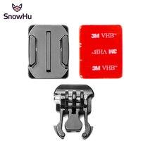 Snowhu para gopro acessórios montagem capacete curvo surfac + 3m adesivo fivela basic curvo montagens para gopro hero 9 8 7 6 yi 4k gp13