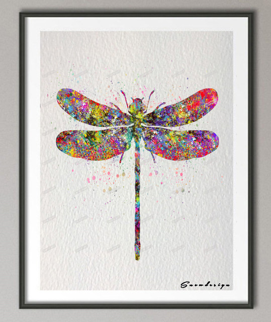 DIY Original Watercolor Dragonfly Canvas Painting Pop Wall Art Poster  Prints Pictures For Living Room Home