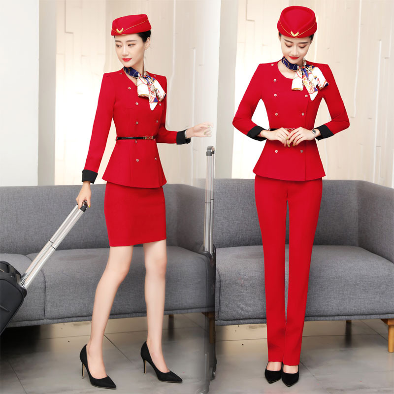 IZICFLY New Style Red Airline Stewardess Waiter Clothes Women pant suit Hotel Reception spa Restaurant Waitress Uniform For Work image