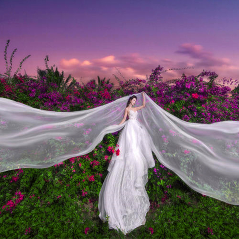 10 Meters Wedding Picture Party Bridal Extra Long 10M White Mesh Tulle Lace Veil Women Bride Ivory 1000CM Veils Without Comb