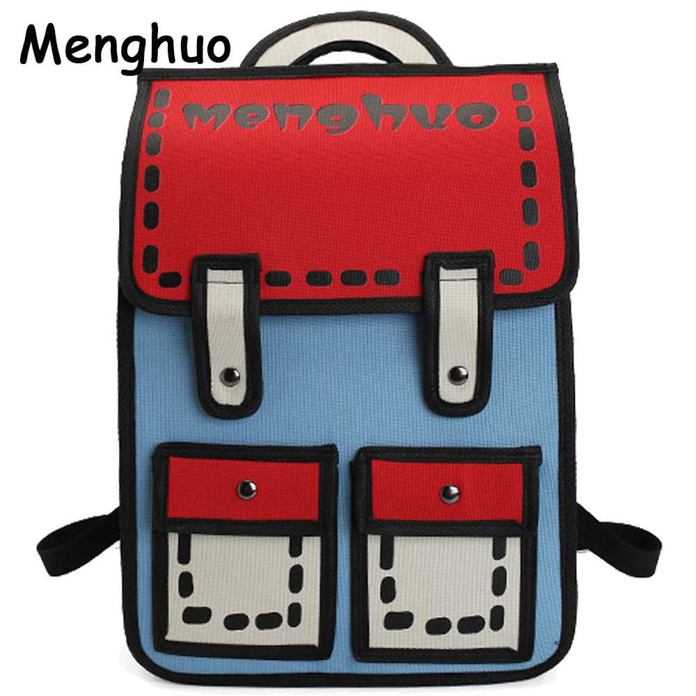 Menghuo 2017 New 3D Jump Style 2D Drawing Cartoon Paper Bag Comic Backpack Messenger Tote Fashion Cute Student Bag Bolos Mochila