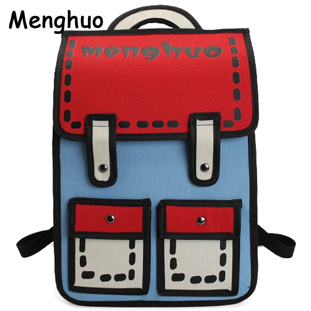 Menghuo 2017 Nuevo 3D salto estilo 2D dibujo de papel de dibujos animados bolsa de mochila, bolso de moda Lindo bolso Bolos mochila