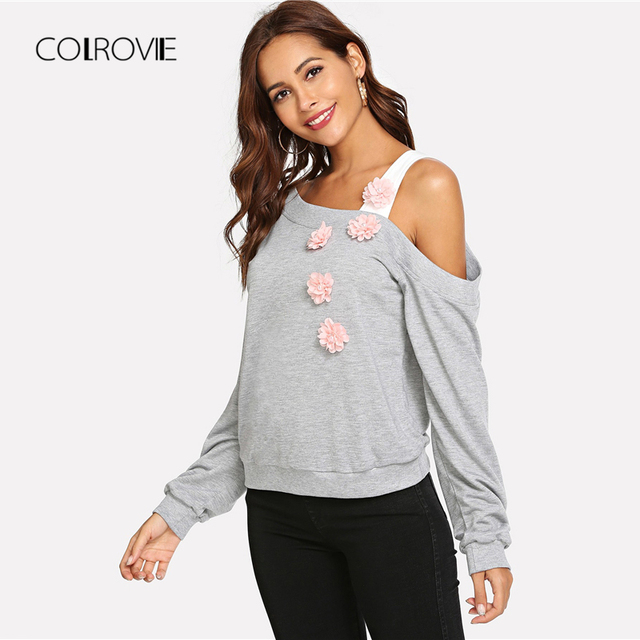 776be24c336f SHEIN Pink Cut Out High Neck Solid Fluffy Sweater Casual Cold ...