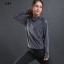 LIEXING Ultrathin Hooded Running Jacket Women Long Sweatshirt Jogging Sports Womens Fitness Gym Shirts with Drawcord Hem