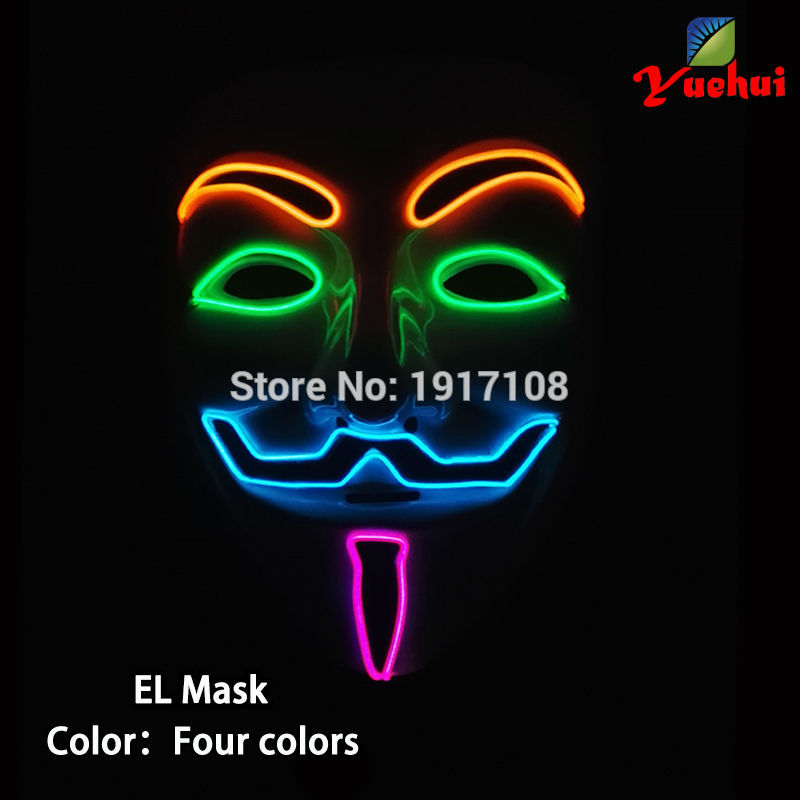New design Powered by battery Funny glowing 4 Color Vendetta mask EL wire Mask For DJ,Halloween,Christmas,Evening party decor