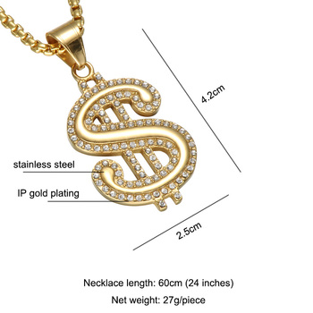US Dollar Sign Micro Pave Rhinestone Necklace 1