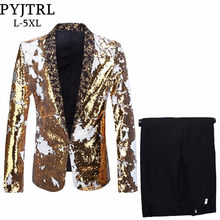 PYJTRL Men Plus Size 5XL Changing Double-Color Sequins Suits Black Royal Blue Green Purple Silver Red Gold Paillette Prom Tuxedo(China)