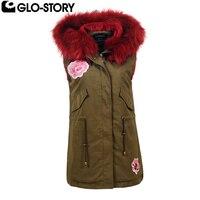 GLO-STORY النساء الشتاء الطويلة سترة امرأة سميكة ستر سترات الصدريات الفراء هود زهرة المطرزة feminino العسكري WMJ-5625