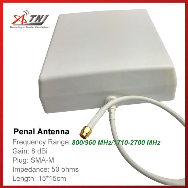 De Calidad superior + Alta Ganancia 7dbi, antena penal atnj 800-2500 mhz al aire libre para 2g 3g 4g amplificador de señal