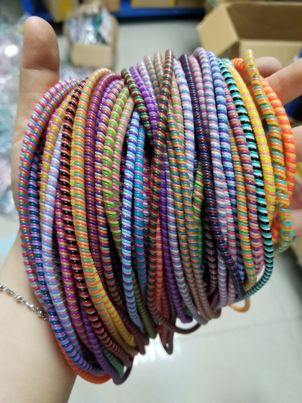 400pcs/lot three colors Solid Color TPU spiral USB Charger cable cord protector wrap cable winder organizer, Hair ring 50cm