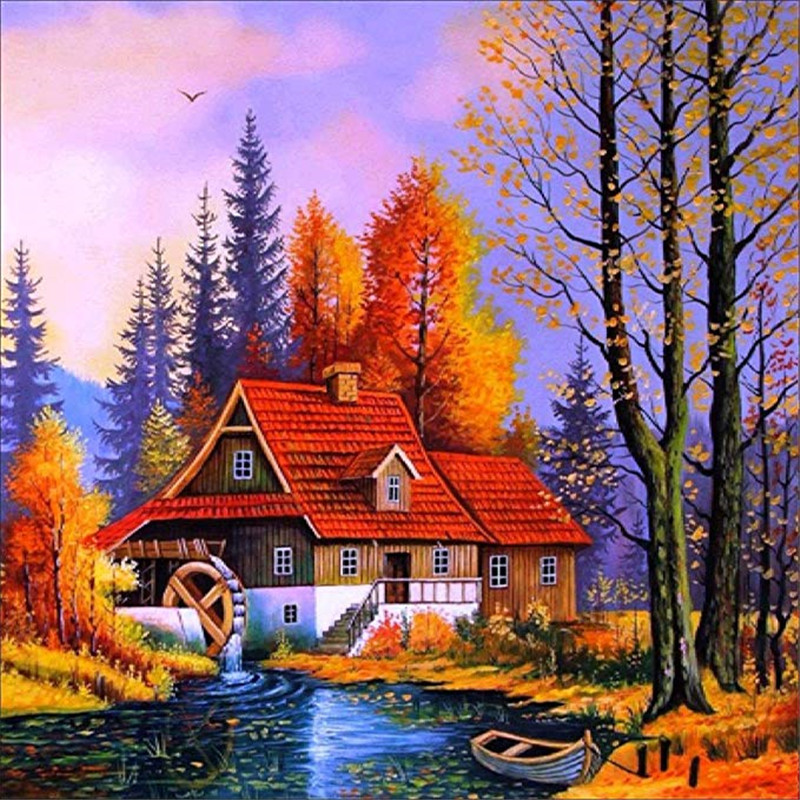 5D DIY Diamond Mosaic DIY Diamond painting cross stitch Painting Crafts Diamond Embroidery Decoration Gifts House in Diamond Painting Cross Stitch from Home Garden