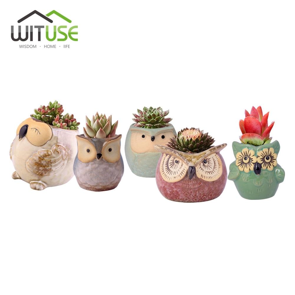WITUSE 6pcs Fashion Mini Kawaii Owl Ceramic Bonsai Flower Pot Succulent Plants Potted Home Office Desk Decor Glazed Ceramic Pots