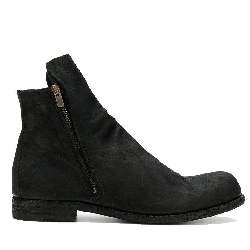 La Hombres Retro Invierno Otoño Británicos Zapatos Transpirable Negro Los Cuero Botas Montar Europea Bajas Cremallera Versión De qH7Ew6p