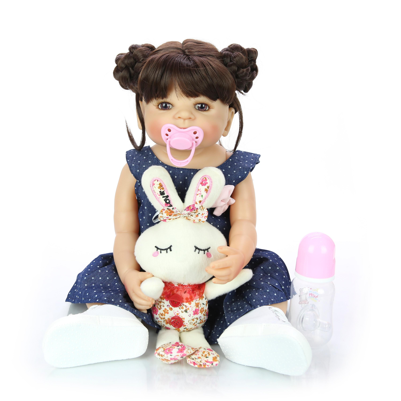Oyuncaklar ve Hobi Ürünleri'ten Bebekler'de Yeni 55cm tüm silikon vücut Reborn kız gerçekçi bebek bebek DIY saç yenidoğan prenses yürümeye başlayan çocuk oyuncak Bonecas su geçirmez doğum günü hediyesi'da  Grup 2