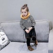 2018  Baby Girls Stripe Hooded Sports Sweater Pullovers Sport Wear Children Sweatshirts Long Sleeve Outwear Free Shipping