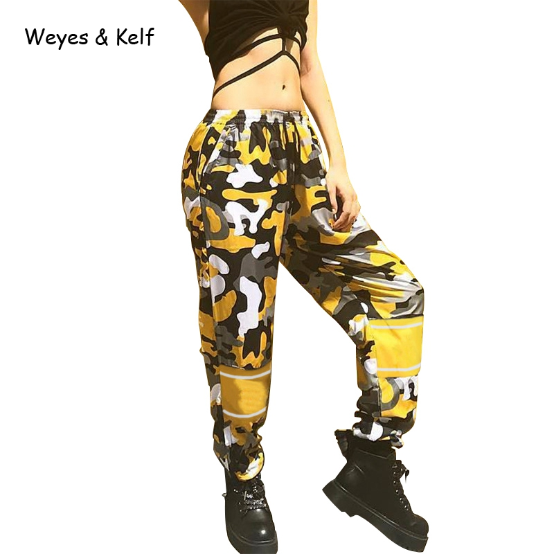 Weye & Kelf High Waist Loose Camo   Pants     Capris   Women Bottom Personality Streetwear Casual   Pants   2017 Autumn Chic Trousers Women