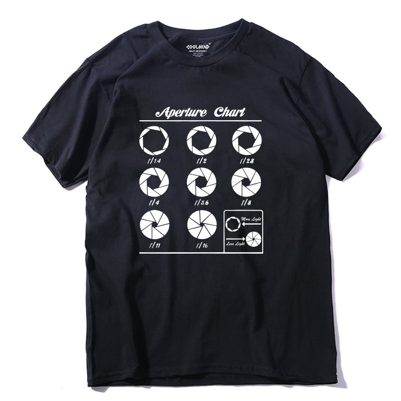 COOLMIND QI0254A 100% cotton Aperture Chart print men   T     shirt   casual short sleeve men tshirt o-neck summer men   t  -  shirt   tee   shirt