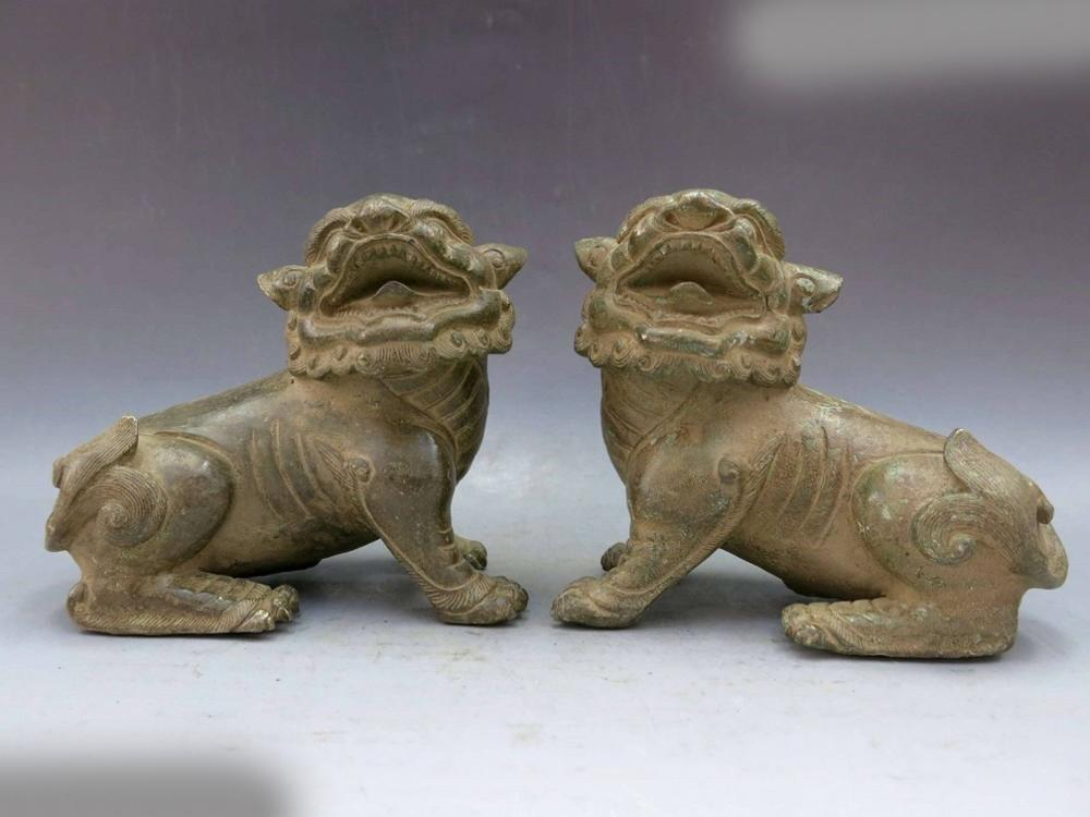 DS China Bronze Copper Feng Shui Lucky Guard Foo Dogs Lions Pair Sculpture Statue