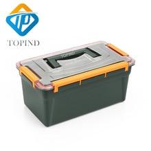 TOPIND 1PC Dark green double layer Waterproof hand tool box,Big Fishing Tackle Box