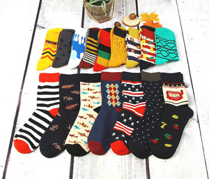 Image 4 - 12pairs/lot Colorful Casual Mens Happy Socks High Quality Combed Cotton Men Socks Cartoon Designs Funny Crew compression socks