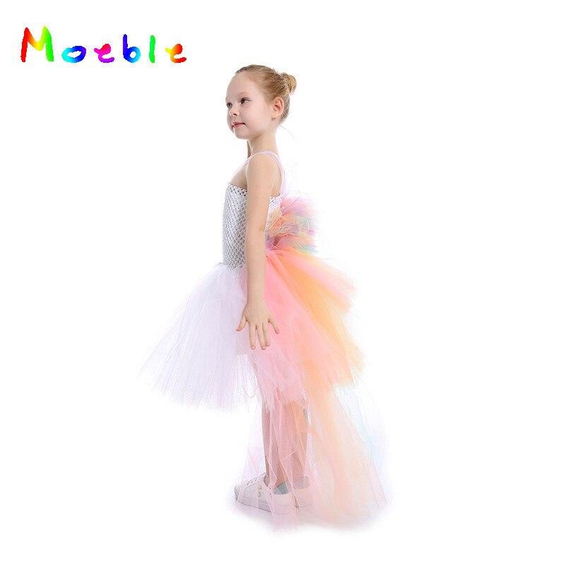 Пастельная Радуга девочек Платье-пачка с принтом единорога для танцевальных регалий «Бастл» летние платья для маленьких девочек Детские п...
