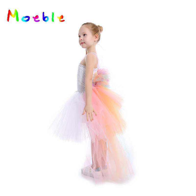 Pastel Rainbow Girls Unicorn Bustle Tutu Dress Summer Dresses For Girls Baby Kids Party Dresses Children Cosplay Costume girls dresses trolls poppy cosplay costume dress for girl poppy dress streetwear halloween clothes kids fancy dresses trolls wig