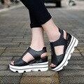 2017 Mulheres Bombas Sandálias de Verão Feminina Cunhas Fundo Grosso Boca de Peixe À Prova D' Água da Plataforma Dos Saltos Altos Das Mulheres Sapatos Casuais