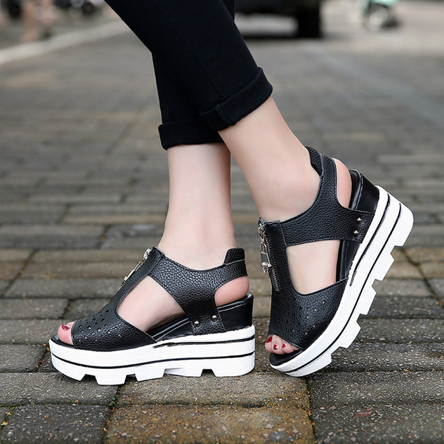 943a1a52f25 2017 Women Pumps Sandals Spring Summer Female Thick Bottom Fish Mouth  Wedges Waterproof Platform High Heels Women'S Casual Shoes-in Women's  Sandals ...