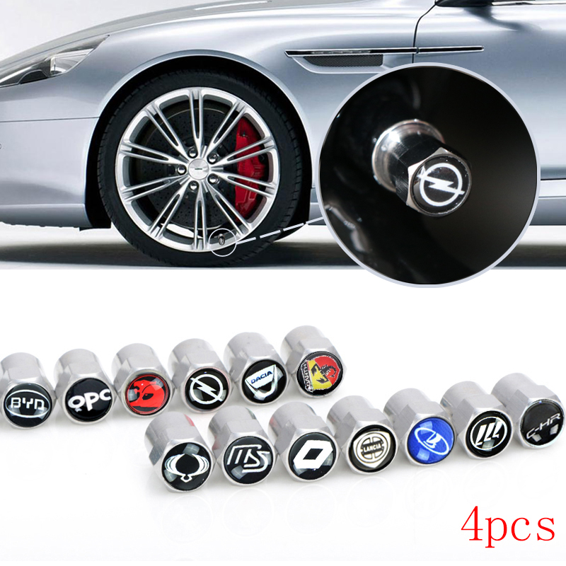 4pcs ABS Car Badge Wheel Tire Valve Cap Tyre Dust Cap For OPEL LADA Renault mazda Toyota skoda alfa romeo accesorios car styling