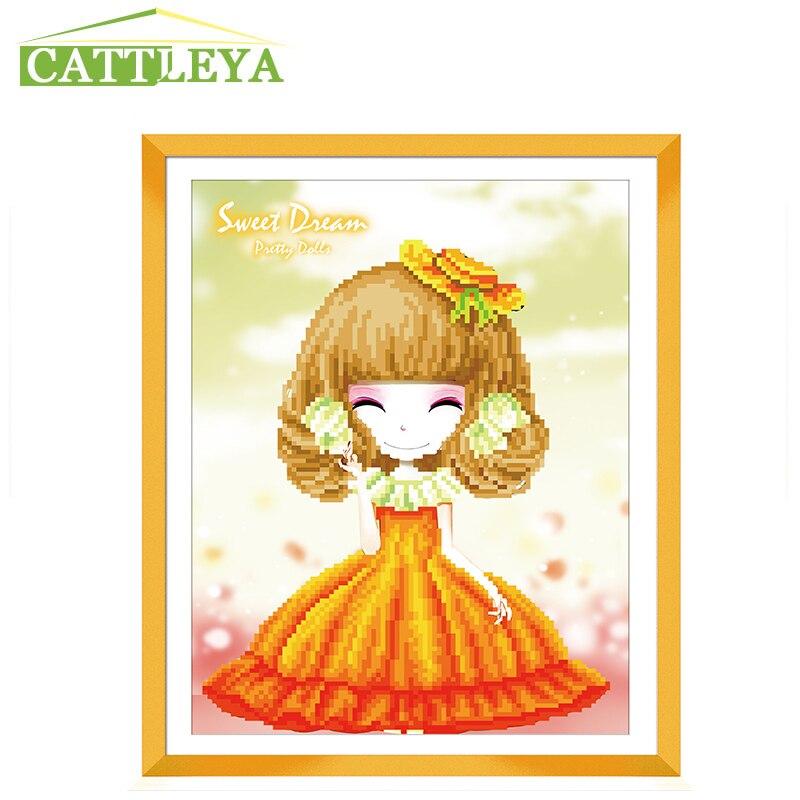 CATTLEYA,5D Diamond painting, yellow hat gril,Decoration,DIY Diamond Painting, Resin ,Round Drill Diamond Embroidery, Needlework