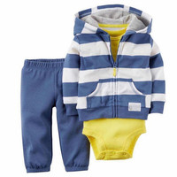 High Quality Children Clothing Set Kid Cotton Cardigan Set Blue White Striped Coat Blue Pant Yellow