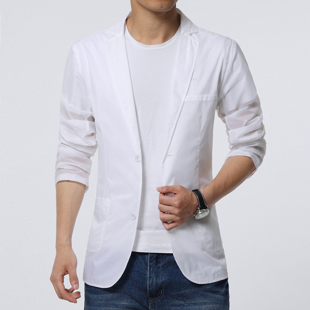 2018 Mens summer blazer White coat thin casual male clothing suit jacket drop ship big size M-6XL Sun protection clothi