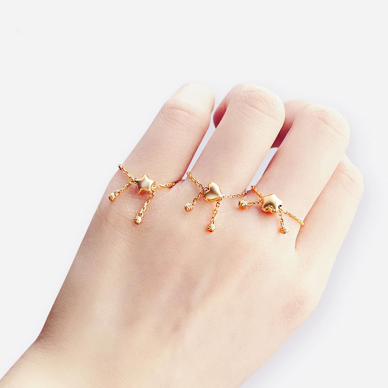 New Solid AU750 Rose Gold Ring Women Cute Link Party Ring Can adjustable Ring new pure au750 rose gold love ring lucky cute letter ring 1 13 1 23g hot sale