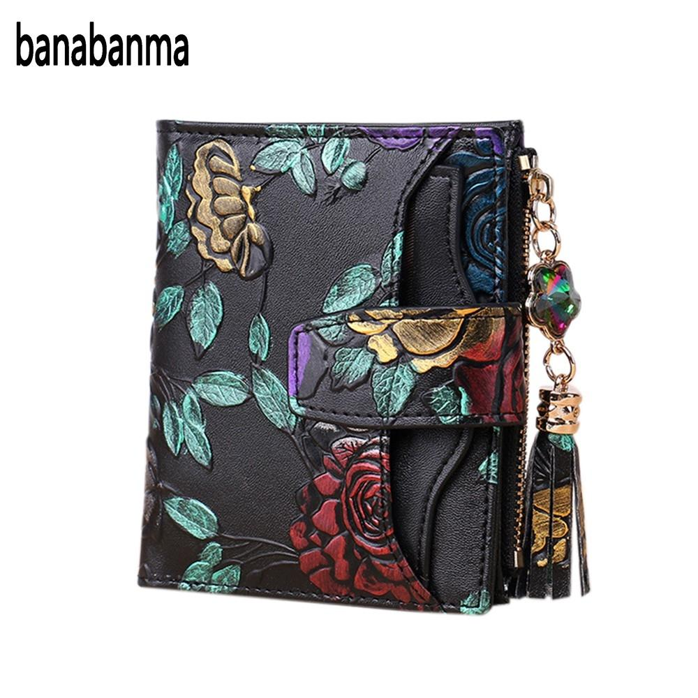 banabanma Women Leather Printing Wallet with Buckle & Zipper Short-Style Purse Card Holder Valentine's Day Gift HOT NEW ZK30