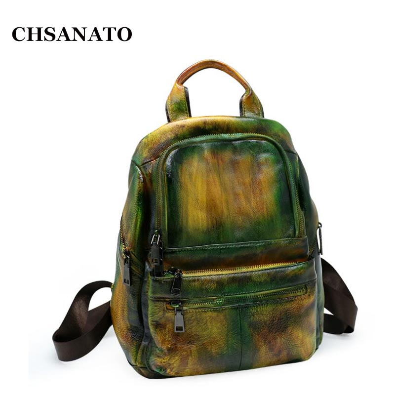 CHSANATO Back To School Women Backpacks Geniune Leather Shoulder Bag Unique Color Backpack School Bags For Girls children school bag minecraft cartoon backpack pupils printing school bags hot game backpacks for boys and girls mochila escolar