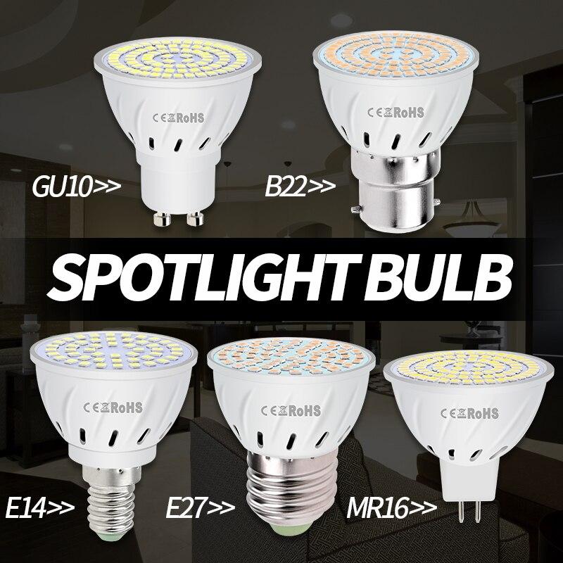 Led GU10 Spot Light Bulb 220V Lampara Led 3W 5W 7W E27 LED Lamp 220V GU5 3 MR16 Spotlight E14 Corn Bulb gu 10 Ampoule B22 2835 in LED Bulbs Tubes from Lights Lighting
