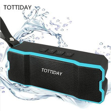 TOTTIDAY Waterproof IPX6 Bluetooth Speaker Outdoor/Family Stereo Wireless Speaker for IPhone and laptop built-in 4500mah Battery