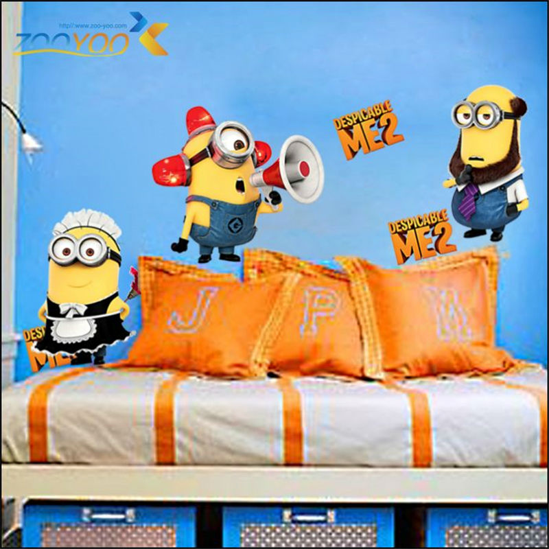 Lovely Cute Minions Boy Wall Sticker Decals For Kids Room Home Decor Diy Cartoon Wallpaper Children Gift Mural Art Poster In Stickers From