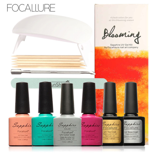 FOCALLURE New Arrival UV Gel Kit Soak-off Gel Polish Gel Nail Kit Nail Art Tools Sets Kits Manicure Set with SUNMINI Led Lamp