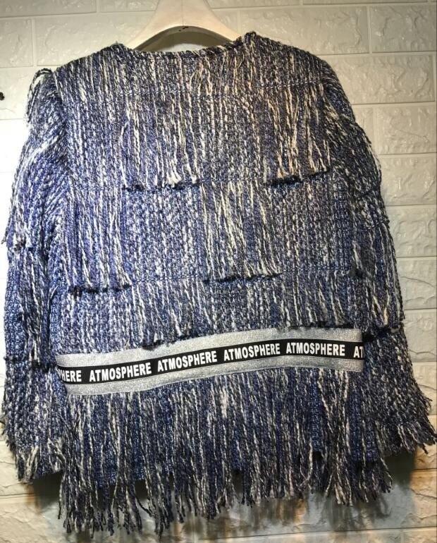 Élégant De Tweed Glands Longues Picture Pardessus Femmes D'hiver Color Manches Point Mode Ouvrir Designer Nouvelles Laine Manteau Piste Veste Bordées Armure q8wxtn7HZ