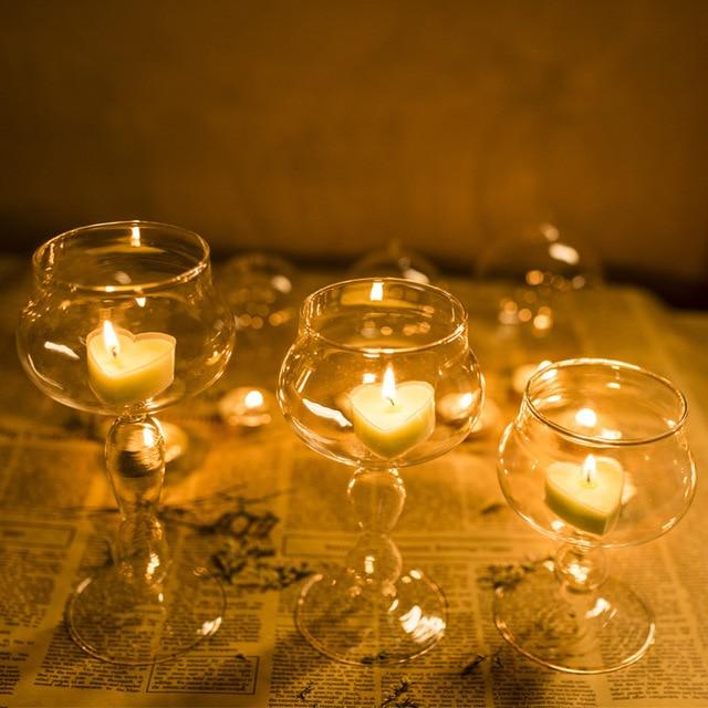 Comprar proponer props forma de copa candelabros con velas cena rom ntica vela - Cena romantica con velas ...