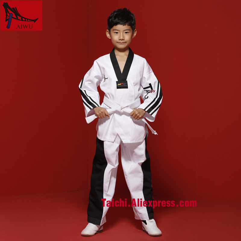 White With Black Stripe Tae Kwon Do Children Taekwondo Uinform For Poomsae & Training,WTF Uniform,110-155cm