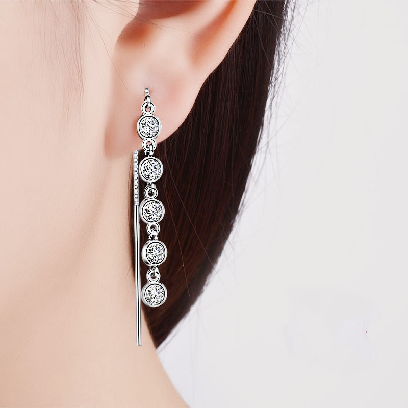 Luxury 925 Sterling Silver Geometric Long Tassel Circle AAA Zircon Crystal Drop Earrings for Women Sterling Silver Jewelry