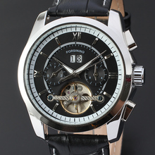 Men s Fashion Chic Mechanical Wrist Watch Date Display Black Leather Band Business Formal Dress Silver