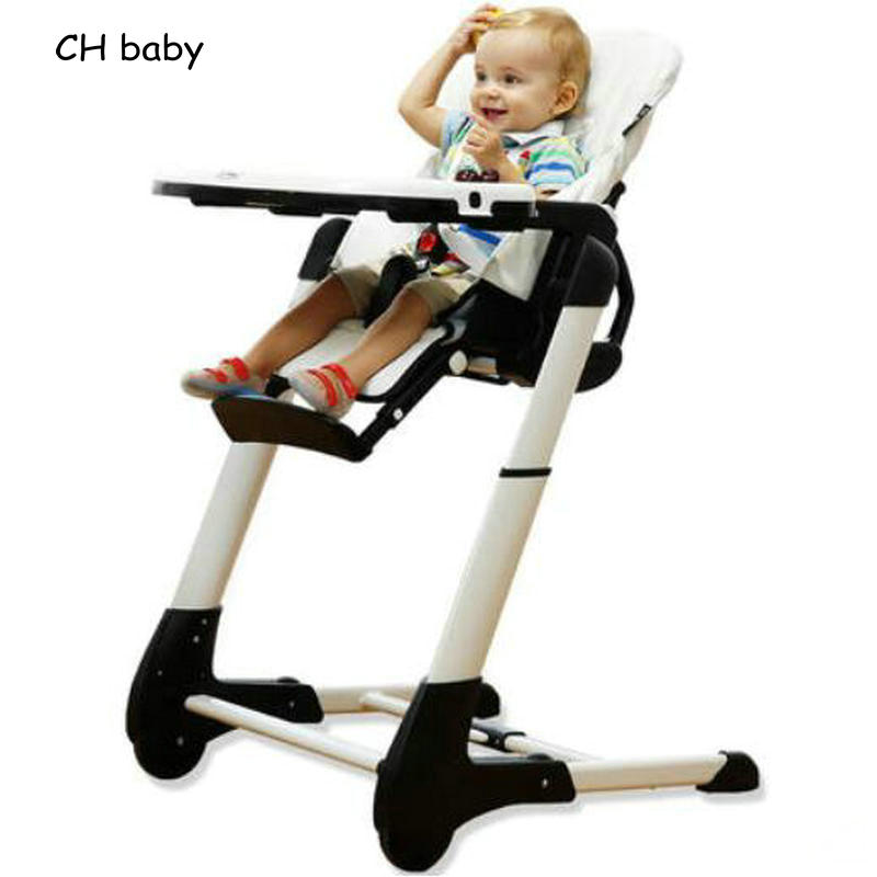 CH Baby 4 in 1 Leather Seat Baby Dinning Highchair Fold Baby Feed Chair with PP plastic tray baby High chair