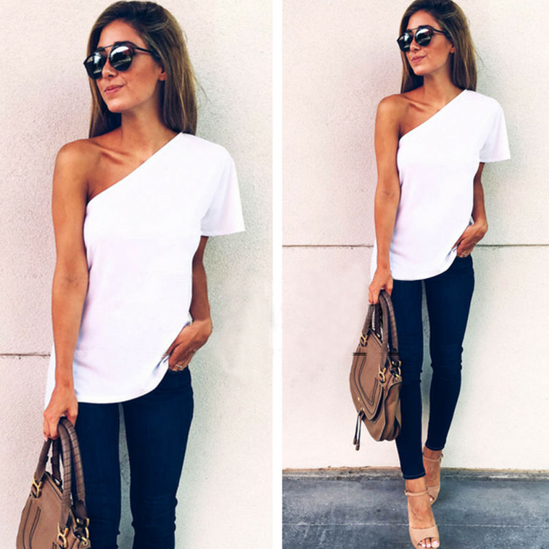 2018 Summer New Arrival  Women Casual One Shoulder T-Shirts Tops Ladies Slash Neck Chiffon Tee T Shirt White Tshirt Tops
